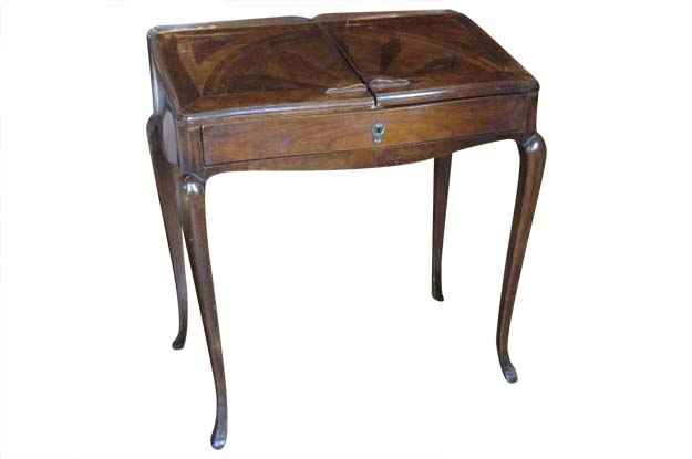Petite French Louis XV Style Walnut Slant-Front Desk, Stamped, circa 1810