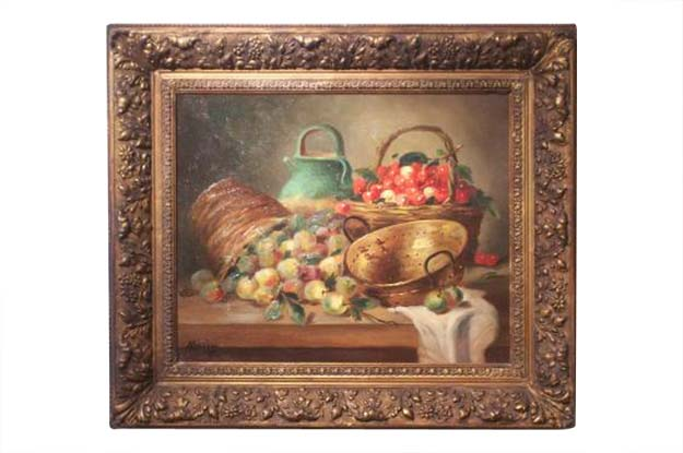 French Still Life Painting with Fruit by M. Morin
