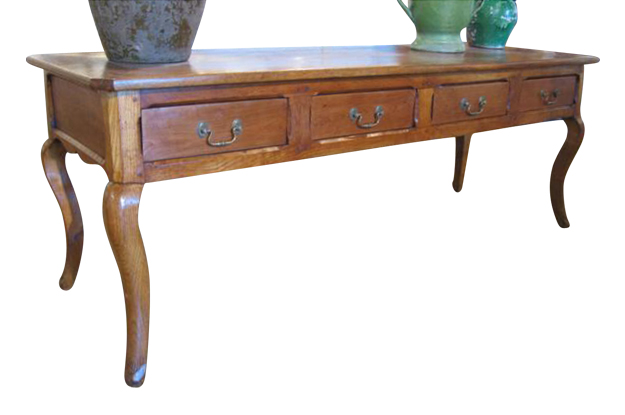French 18th Century Louis XV Cherry Sofa Table with Later Added Drawers