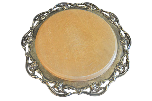Circular silver tray with decorative pierced border by Meddon & Co circa 1880