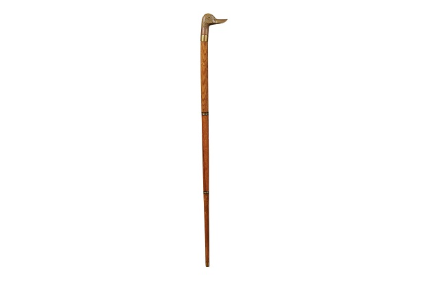 Walking Cane With Brass Duck Head Handle