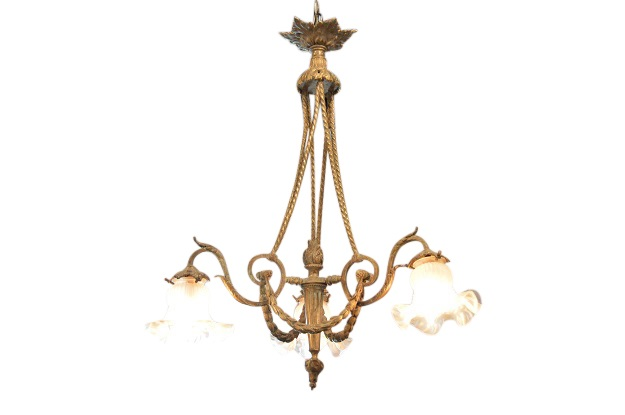 French 19th Century Louis XVI Style Bronze Chandelier with Three Lights