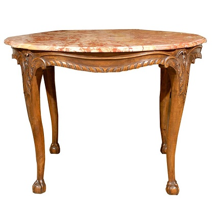 French 19th Century Carved Walnut Center Table with Original Variegated Marble
