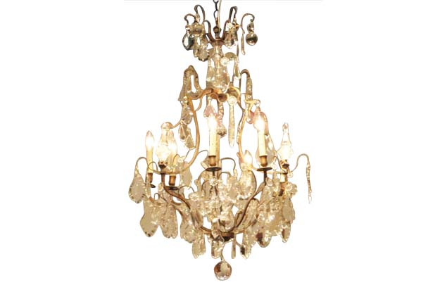 French Iron and Crystal Chandelier Circa 1890