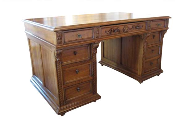 French 19th Century Walnut Kneehole Desk Finished On All Four Sides, Circa 1890