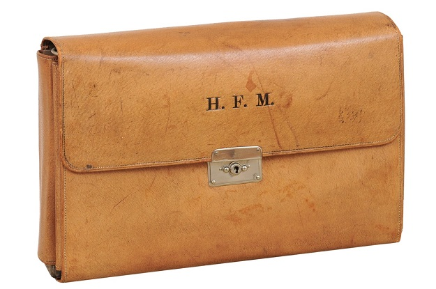 19th Century English Leather Mens Travel Kit With H.F.M. Circa 1870
