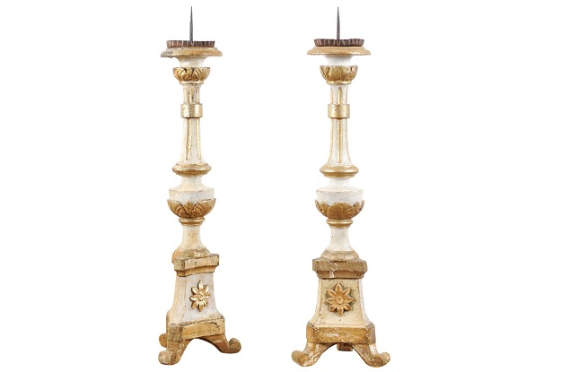 Pair of 19th Century French Gold & Silver Candlesticks Circa 1810