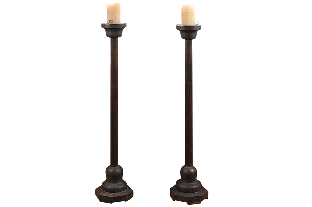Pair of 19th Century French Tall Candlesticks Circa 1810