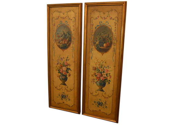French Pair of 19th Century Hand Painted Panels, Circa 1850
