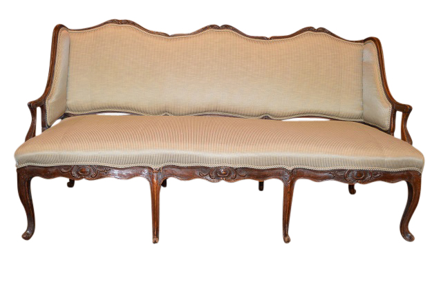 1720s French Régence Period Walnut Three-Seat Canapé à Oreilles with Upholstery