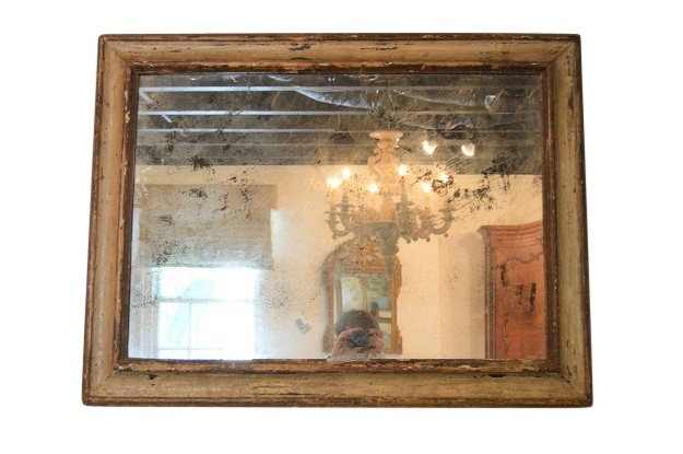 Italian 18th Century Painted Rustic  Mirror Frame with a Newer Antiqued Mirror Glass