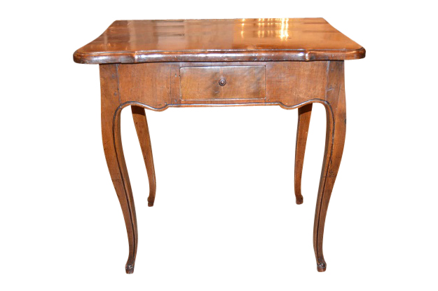 French 18th Century Walnut Side Table with a Scalloped Edge and Cabriole Legs. A  Drawer on Each Side