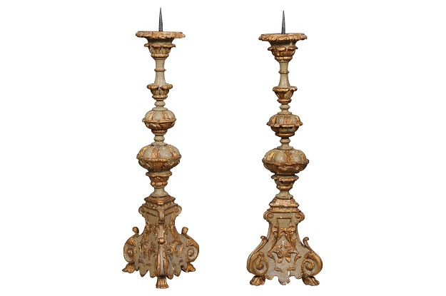 Pair of Early 19th Century French Rococo Style Carved and Painted Candlesticks