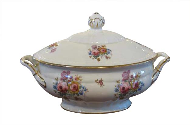 Danish Porcelain Soup Tureen with Lid, Gilt Rim and Colorful Floral Decor, 1930s