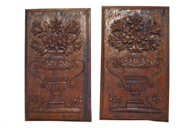 Pair of French Louis XVI Period Wooden Panels Carved in Low-Relief with Bouquets