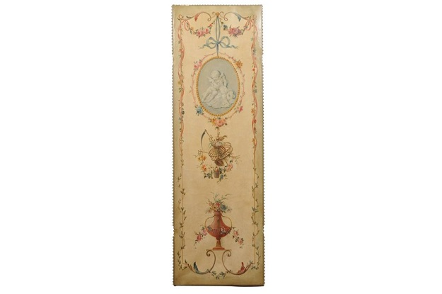 19th Century Italian Single Decorative Panel with Cherubs and Floral Motifs