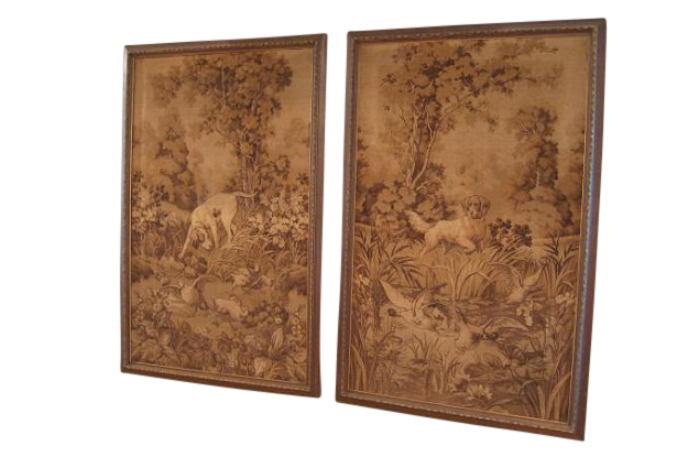 Pair of Tapestries Depicting Hunting Dogs   Mizz