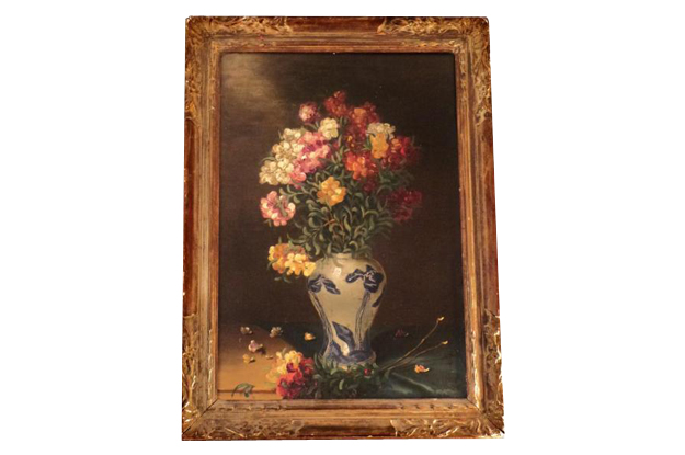 English 19th Century Floral Still Life with Blue and White Porcelain, Signed Henry Roberts