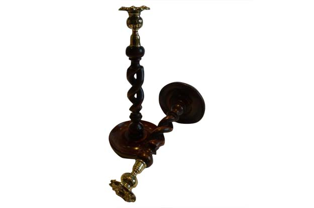 Pair of Antique Scottish Oak Barley Twist Candlesticks with Brass Thistle Tops
