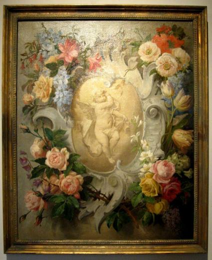 Floral Aubusson Painting with Cherub  Mizz