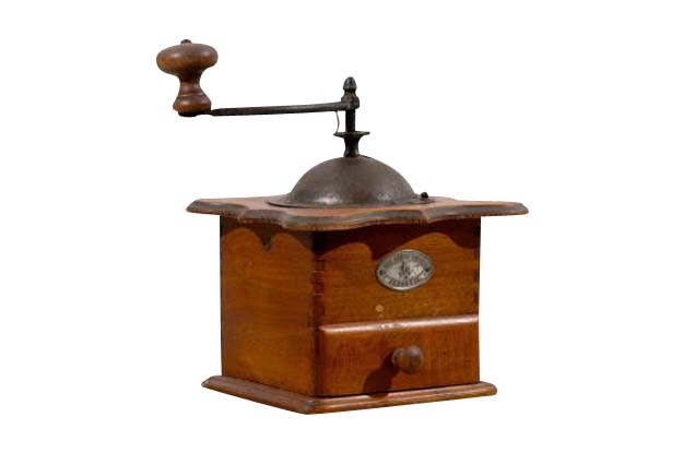 English Coffee Grinder with Shaped Top and Treen Handle
