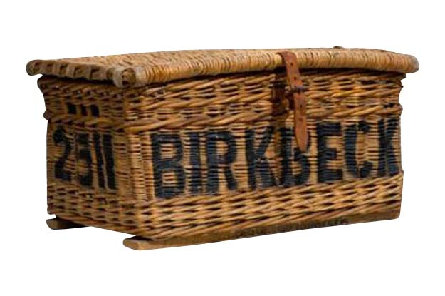 Antique Laundry Basket - Labeled Birkbeck on Front and Endfield on Back