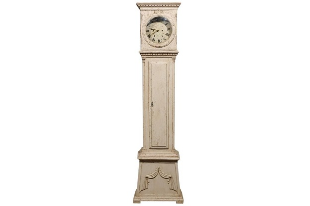Swedish 1820s Neoclassical Tall Case Grandfather Clock with Dentil Molding