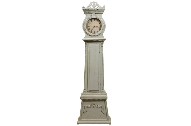 Swedish Neoclassical Style Painted Wood Longcase Clock with Carved Palmette