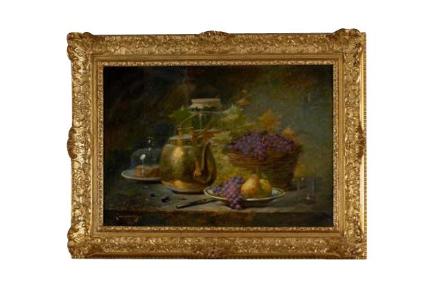 French 1860s Still-Life Painting by Agénorie Monique Laurenceau in Gilt Frame