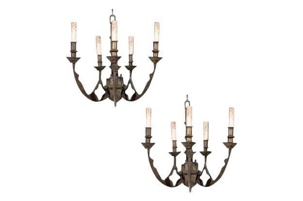 Pair of Iron Wall Sconces in the Gothic Style