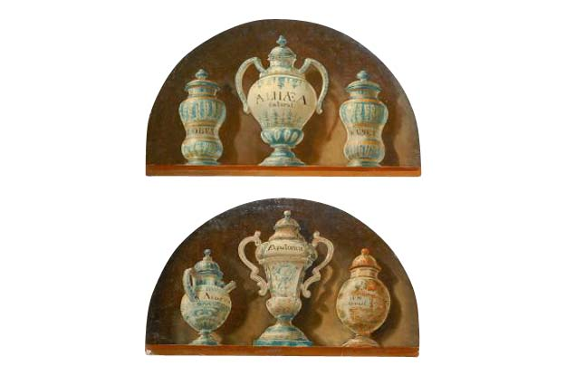 Pair of French 1900s Demilune Maison Jansen Panels, Depicting Apothecary Jars