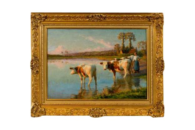French Pastoral Oil Painting Signed by Félix Planquette, Late 19th Century