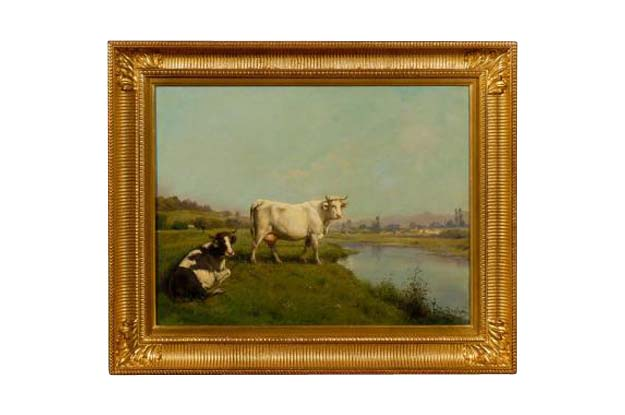French Realist Oil on Canvas Cow Painting Signed by Théodore Levigne, circa 1880