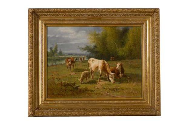 French Barbizon Oil Painting of Cattle Herd by Pablo Martinez del Rio, 1870s