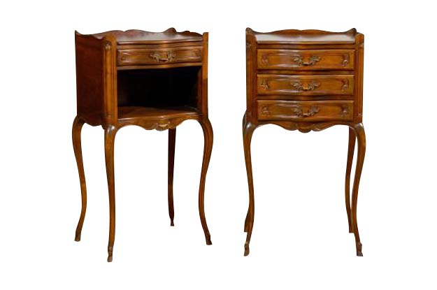 Pair of French Louis XV Style Walnut Bedside Tables with Drawers and Open Shelf PENT