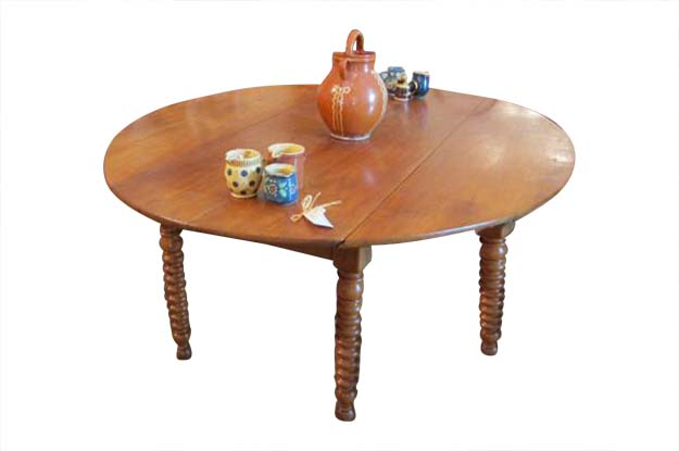 French 19th Century Louis Philippe Walnut Drop Leaf Dining Table with Turned Legs, Circa 1840