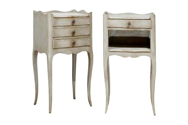 Pair of Louis XV Syle Chevet Tables- Painted- Spinn