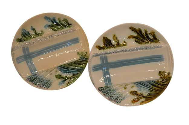 19th Century French Majolica Asparagus Plates