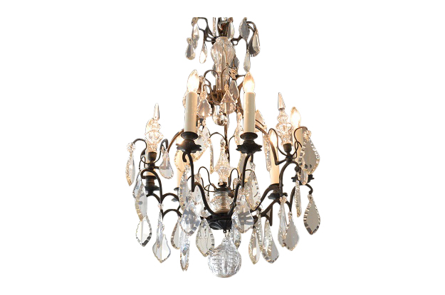 French 19th Century Iron and Crystal Chandelier