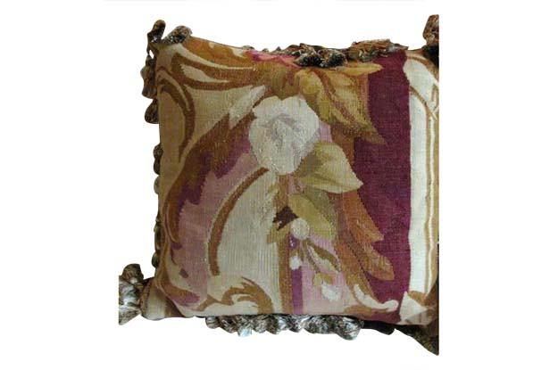French 19th Century Aubusson Tapestry Pillow