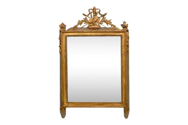 French 18th Century Louis XVI  Painted and Gilded Mirror, Circa 1780