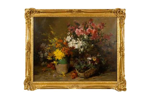 French 1880s Still-Life Floral Painting by Louis-Émile Minet in Giltwood Frame
