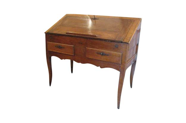 French 18th Century Walnut Slant Top Desk, Circa 1750