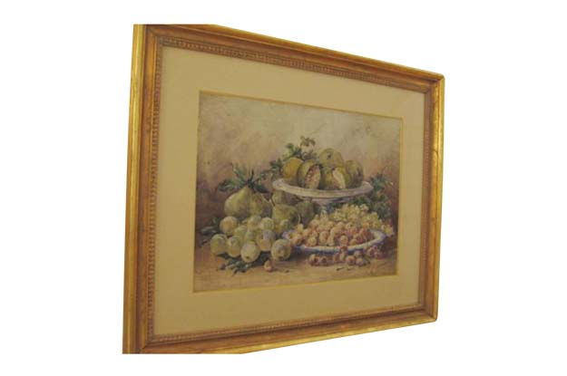 French 19th Century Watercolor of Fruit . Signed Calmant, A  Female French Watercolor Artist Who Exhibited at Salon De Paris From 1876 -1881
