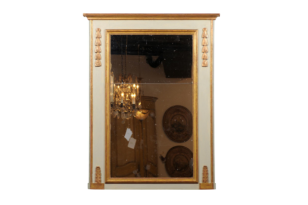 Late 18th Century French Period Directoire Painted Trumeau Mirror with Campanula
