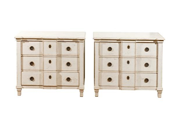 SOLD - Pair of Swedish 1880s Painted Wood Breakfront Three-Drawer Bedside Commodes