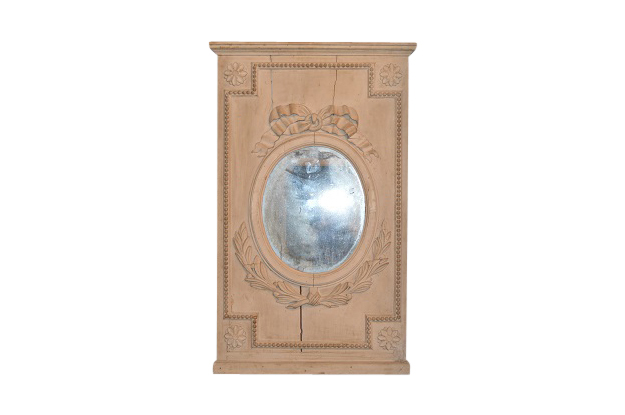 French Painted and Carved Trumeau Mirror, Circa 1790-Pent