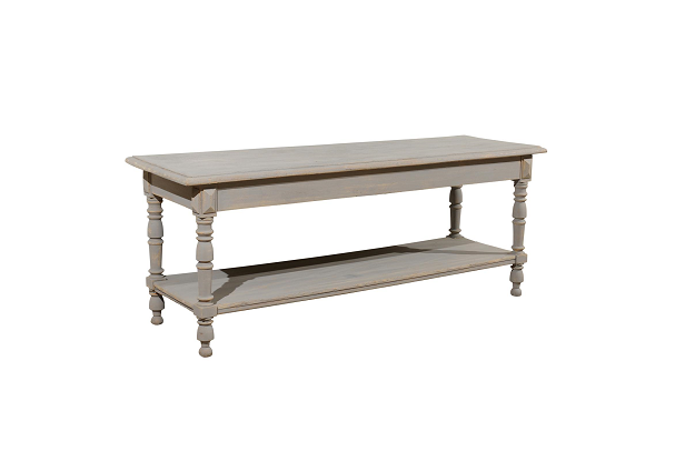 French 1890s Grey Painted Drapers Table with Lower Shelf and Baluster Legs