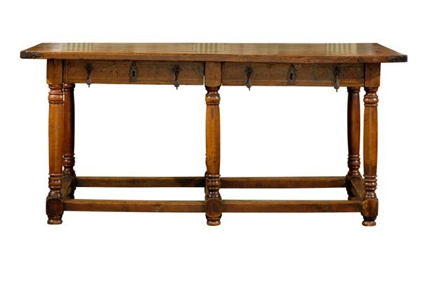 French Louis XIV Period Library Table with Hand-Forged Iron Accents and Drawers