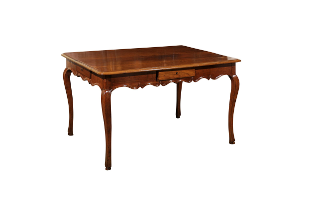 French Louis XV Style 1850s Walnut Table with Four Drawers and Cabriole Legs
